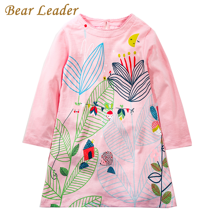 Bear Leader Girls Dress 2017 Brand Autumn Girls Clothes European and American Style Color Big Flowers Print Design Kids Dress 100% real photo brand kids red heart sleeve dress american and european style hollow girls clothes baby girl clothes