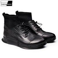 Бренд для мужчин пояса из натуральной кожи Высокие Повседневная обувь осень зима черный слипоны носок спортивная Мужская Удобная хип хоп