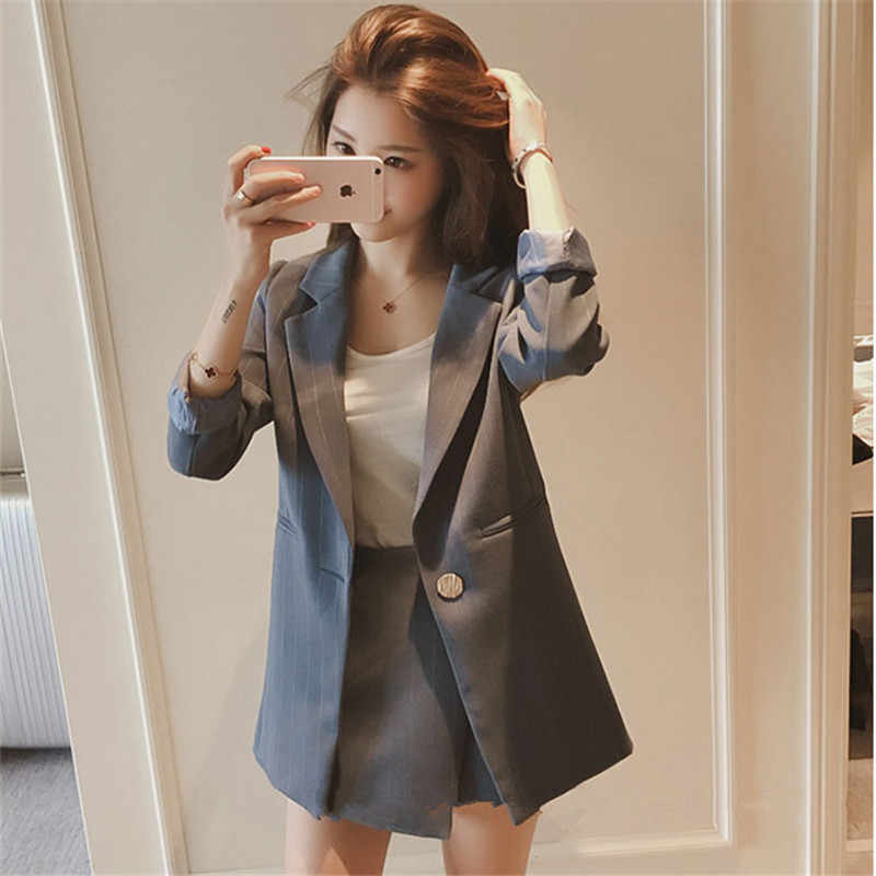 582efb2cb6b22 ... Fashion Women Skirt Suits One Button Notched Striped Blazer Jackets and  Slim Mini Skirts Two Pieces ...