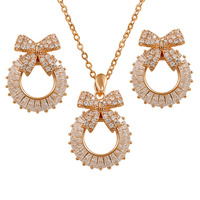Cubic Zirconia Circle And Bow Zircon Necklace And Earring Jewelry Set For Women In Rose Gold