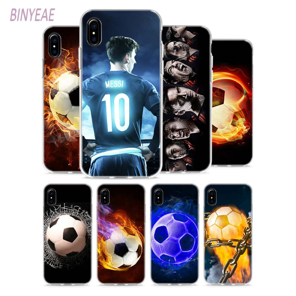 BINYEAE Fire Football Soccer Style Clear Soft TPU Phone Cases for Apple iPhone X 8 7 6 6s Plus 5 5S SE 5C