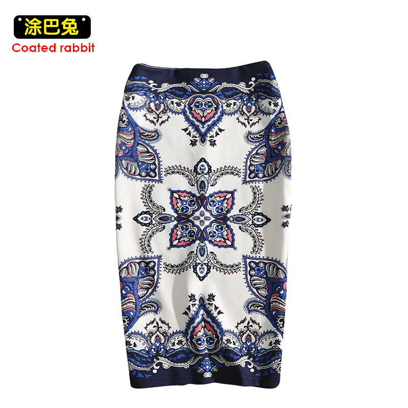 CR 2018 Summer Fashion skirt Floral print H type Women high waist Elegant Vintage pencil skirt Split the fork female knee length