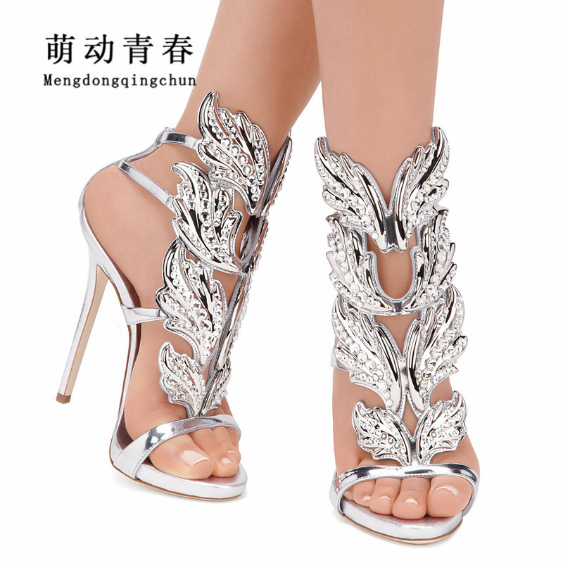 Luxury Brand Women Pumps 2018 Women Fashion Leaf Flame Peep Toe High Heels Crystal Narrow Band Ankle Strap Party Wedding Pumps