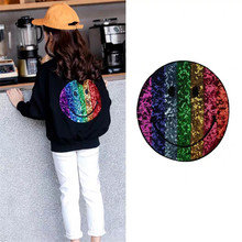 Shidao Rainbow Smiling Face Sequined Iron On Patches For Clothes DIY Coat Sweater Embroidery Paillette Cape Emoji Applique Patch