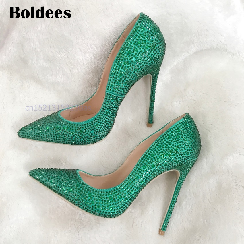Hot Sale Thin High Heels Woman Sexy Pointed Toe Pumps Green Crystal Rhinestone Lady Party 12cm Heeled Dress Shoes Pumps sdtrft sexy cosplay party shoe woman 12cm thin high heeled pointed toe ankle boots lace up ladies wedding pumps plus 40 46 47 48