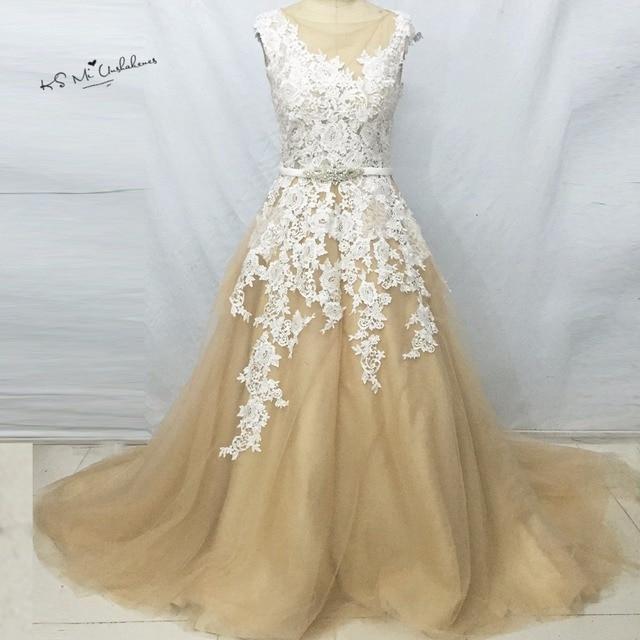 Sexy Champagne Russischen Stil Elegante Brautkleider Spitze Robe de ...