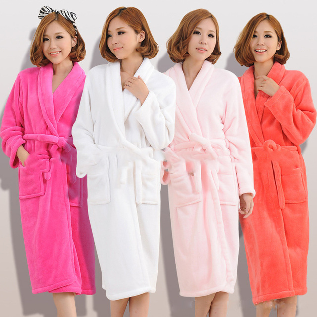 On Sale Winter Lovers Luxury Warm Long Flannel Bathrobe Women Men Thick  Kimono Night Bath Robe Robes Dressing Gown Home Clothes d381d8cbd