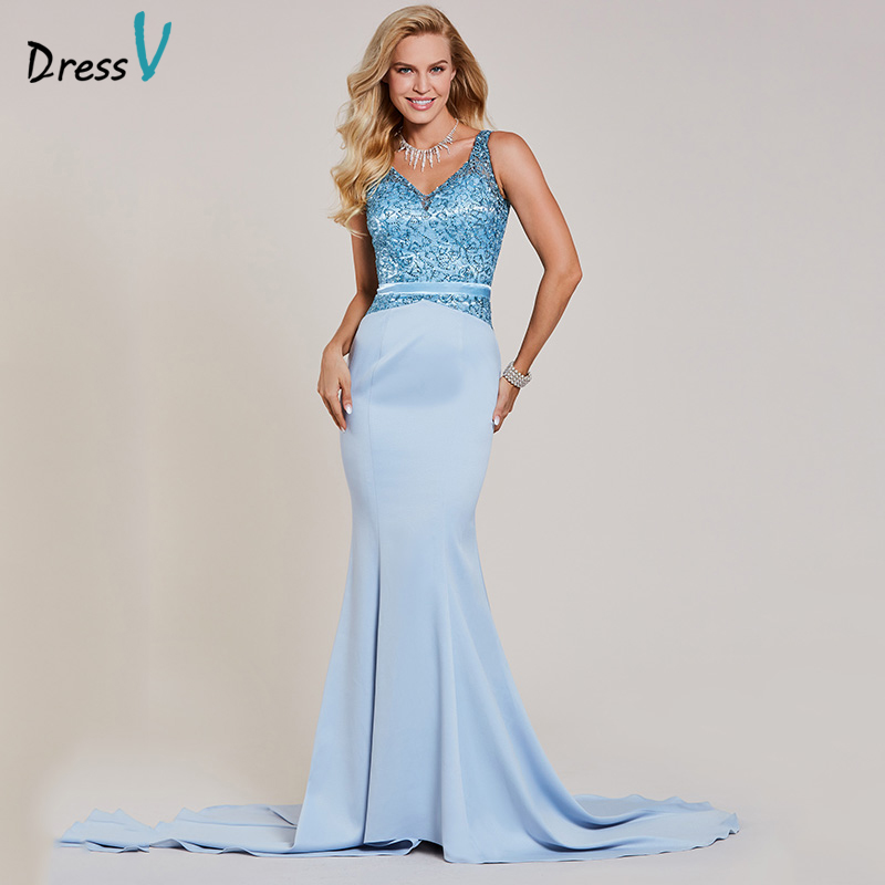 Dressv beaded mermaid   evening     dress   blue v neck sleeveless floor length gown women sequins sweep train formal   evening     dresses