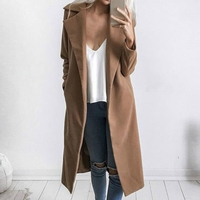 1 Pcs Women Lady Coat Long Sleeve Lapel Solid Color Warm Pocket Fashion for Winter MX8