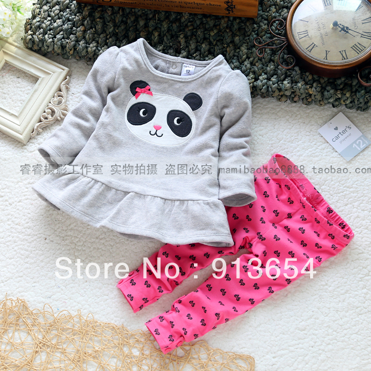 new 2018 Spring autumn brand baby clothing set girl dress t shirts + kids pants sport suit children t shirts panda tracksuits