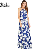 SheIn Womens Summer Maxi Dresses 2016 New Arrival Ladies Sleeveless Blue Halter Neck Floral Print Vintage