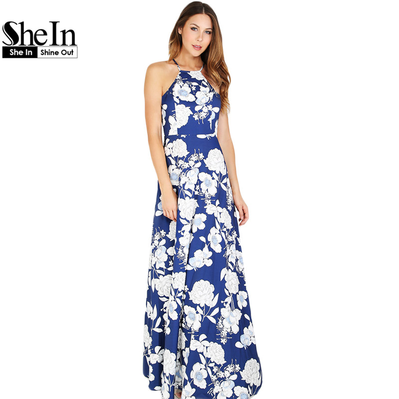 29370e2ee5 SheIn Womens Summer Maxi Dresses New Arrival Ladies Boho Dress Sleeveless  Blue Halter Neck Floral Print Vintage A Line Dress free shipping worldwide