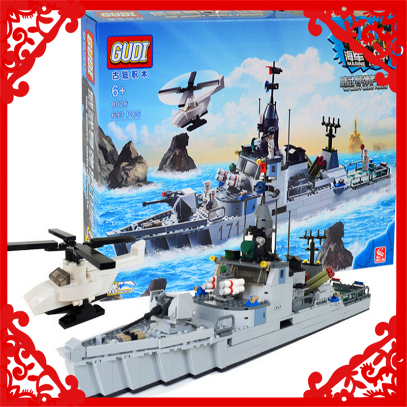 GUDI 8026 Building Blocks Military Marine Frigate 693Pcs Bricks DIY Figure  Toy Gifts For Children Compatible Legoe enlighten building blocks navy frigate ship assembling building blocks military series blocks girls