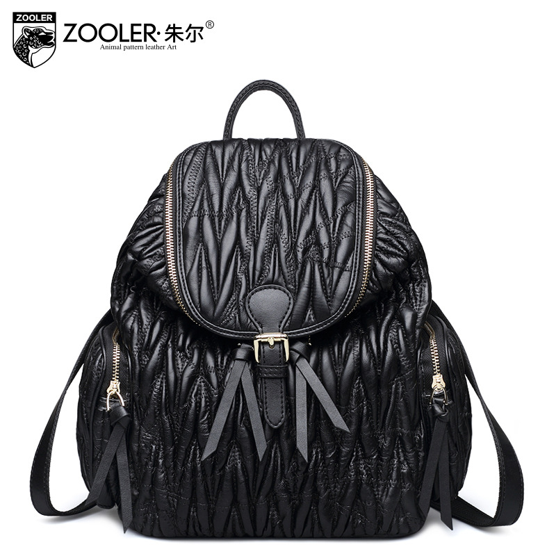 ZOOLER Brand Large Capacity Genuine Leather Backpacks Ladies Casual Black Sheepskin Ruched Backpack Fashion Street Mochilas Bags zooler genuine leather backpacks 2016 new real leather backpack for men famous brand china hot large capacity hot 65055
