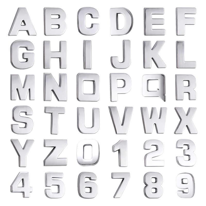 車 3D 手紙英語手紙車のロゴ DIY 英数字メタルボディのステッカーワードマーク尾シルバー Bmw アウディフォード