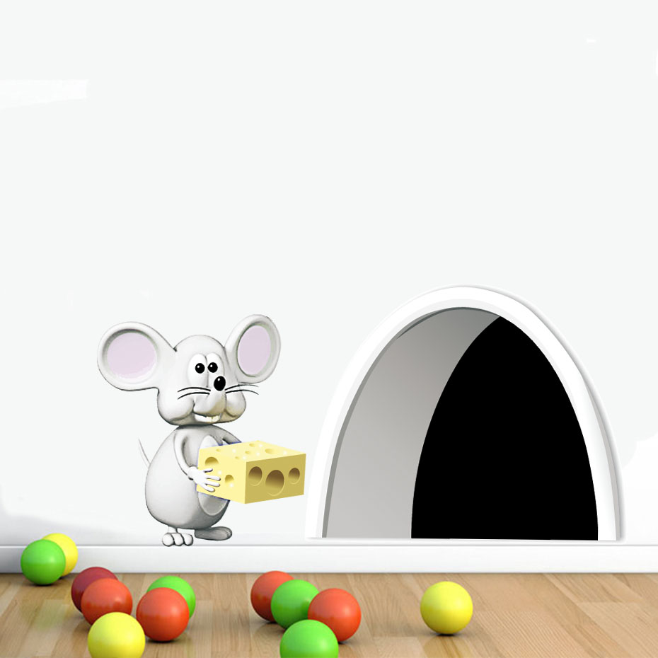 Us 1 1 21 Off Dctop New Arrival Cartoon Mouse Vinyl Wall Stickers Art Design Mice Hole Wall Decals Colorful Wallpaper For Kids Room Home Decor In