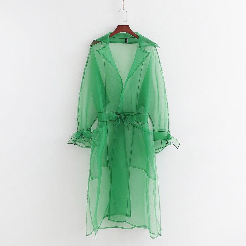 Sunscreen Shirt Clothing Summer 2019 New Fashion Transparent Organza Green Long Dress Shirts Blouse Modern Lady Wears