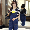 2016 summer maternity plus loose cute denim jumpsuits women overalls pants gallus rompers suspender lady jeans trousers