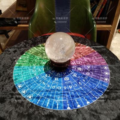 Black/Silver Rainbow Tarot And Astrological Wheel Divination Astrology Magic Ceremony Altar Energy Tablecloth Tarot Cloth
