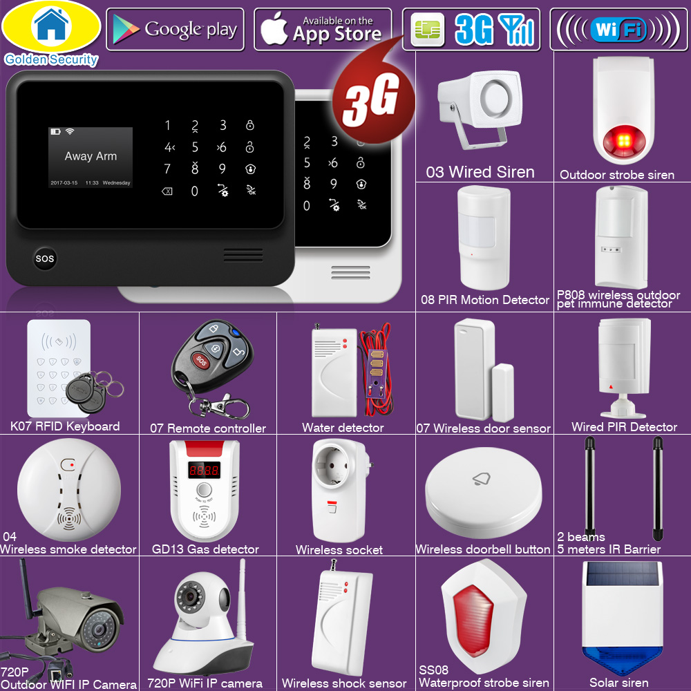 Golden Security DIY WIFI 3G GSM GPRS Wireless APP Remote Control Home Security Alarm System With Voice EN RU ES PL DE Options