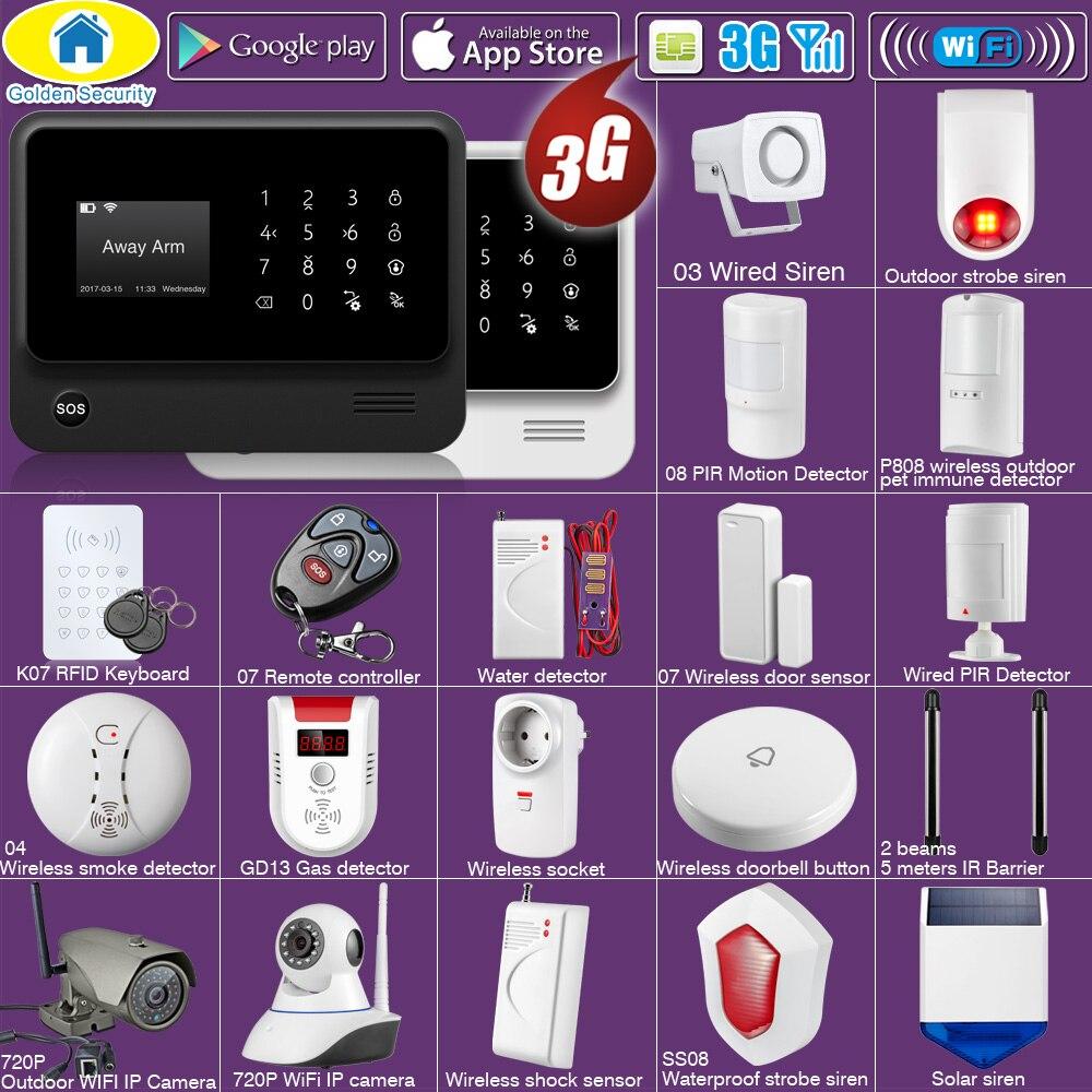 Sécurité dorée bricolage WIFI 3G GSM GPRS sans fil APP télécommande système d'alarme DE sécurité à domicile avec options DE commande vocale