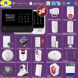 Seguridad dorada DIY WIFI 3G GSM GPRS aplicación inalámbrica Control remoto sistema de alarma de seguridad para el hogar con voz EN RU ES PL DE opciones