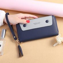 KANDRA 2019 Tassel PU Leather Wristlet Wallet Clutch Women Long Buckle Deco Zipper Purse Card Holder Organizer Pouch Phone Bag wristlet purse with tassel