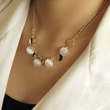Fashion Bohemia Opal Necklaces&Pendants,White Jade Pulp Pendant Gold Plated Female Sweater Chain Length 40cm=16Inch #N459