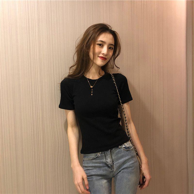 Chic Summer New Solid Loose T Shirts Women Slim Short Sleeve White Basic T shirt Female Top M XXL in T Shirts from Women 39 s Clothing