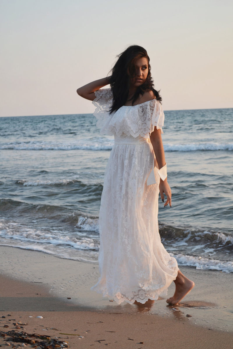 Ivory Lace Wedding Dress Beach Bohemian Wedding Gown 70s Maxi ...