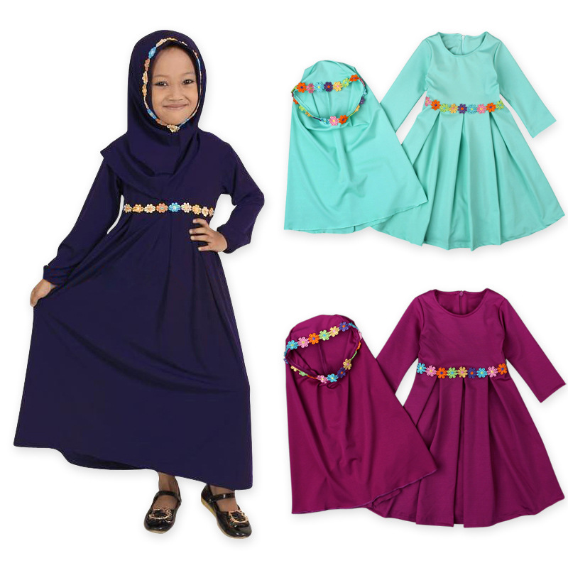 Children's European And American Spring And Autumn Long-sleeved Muslim Girls'dresses Headscarves Two Kids' Skirts