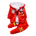 New Chidren kids Clothing Set Hooded Coat Suits + t-shirt+ pants 3 Pcs Sets Cotton Baby Boys & girls Clothes Sport set red/gray