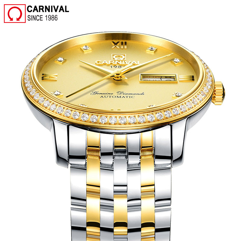 Carnival Mens Mechanical Watches Top Brand Luxury Diamond Golden Automatic Watch Men Stainless Steel Business Clock reloj hombre tevise men black stainless steel automatic mechanical watch luminous analog mens skeleton watches top brand luxury 9008g
