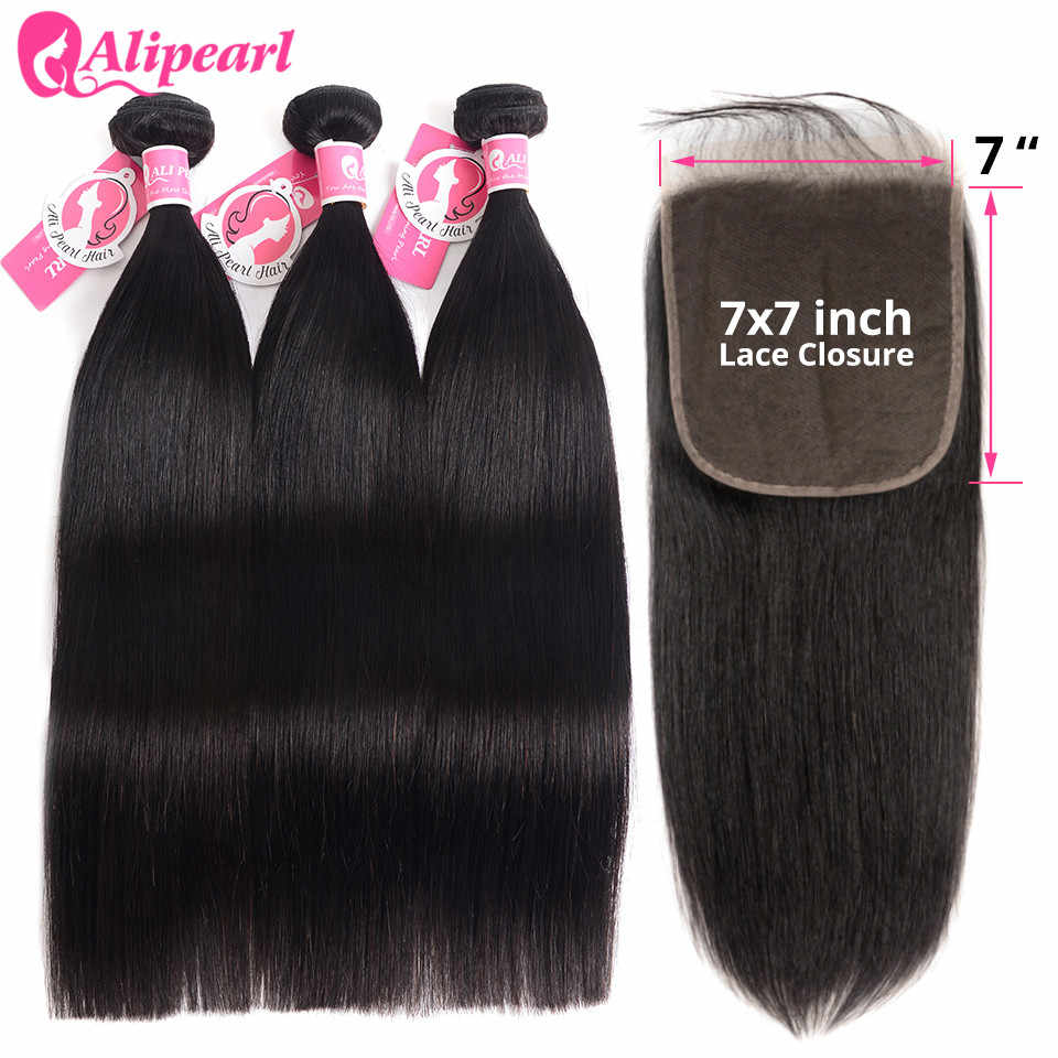 Straight Hair Bundles With 7x7 Closure Free Part Pre Plucked Brazilian Hair Weave Bundles Remy Hair Extension AliPearl Hair