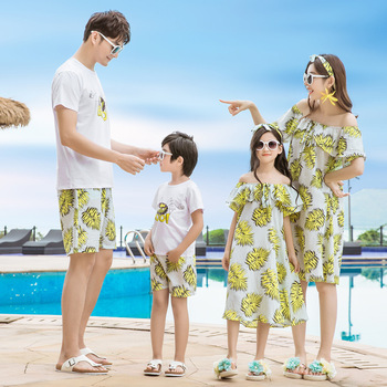 Vestidos de madre hija casual familia juego camisas más tamaño mamá e hija vestido hoja estampado papá mamá y yo hijo trajes
