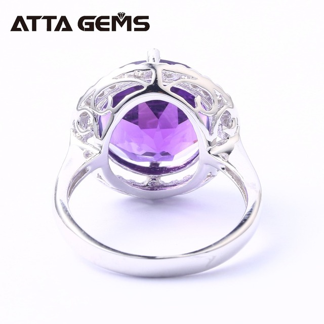 Amethyst Sterling Silver Ring For Women 8 Carats Amethyst Crystal Top Quality Amethyst Birthday Gift Party Wedding Ring
