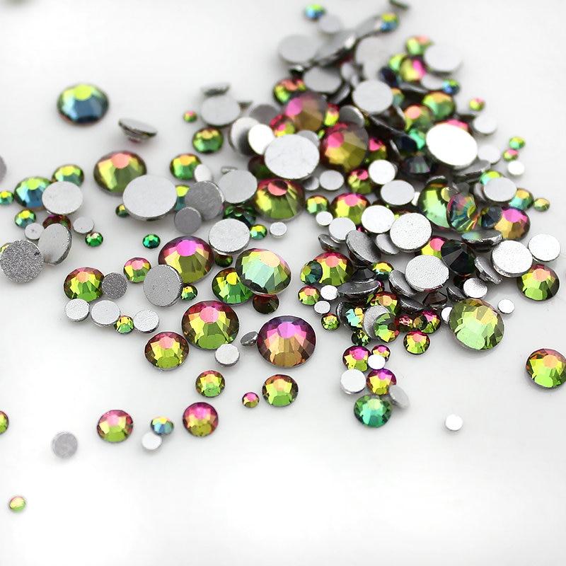 New Arrival 1000pcs Rainbow Colors Glitter 1.5mm Flat Back Crystal Rhinestone Nail Rhinestone 3d Nail Art Decoration