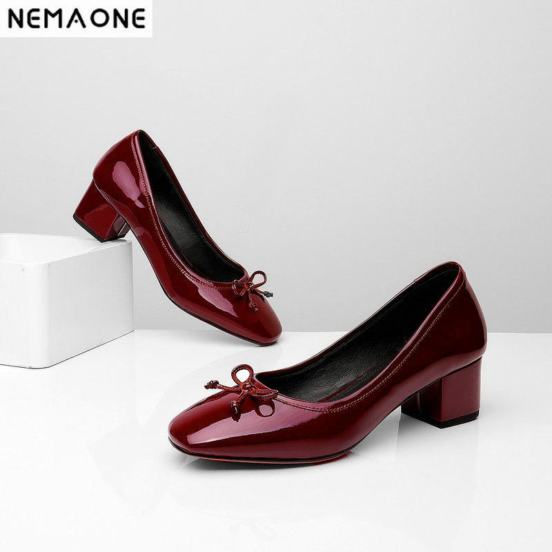 NEMAONE High Heels Genuine Shoes woman 2019 sweet square Toe Fashion Patent Leather Party Shoes Woman New women Pumps