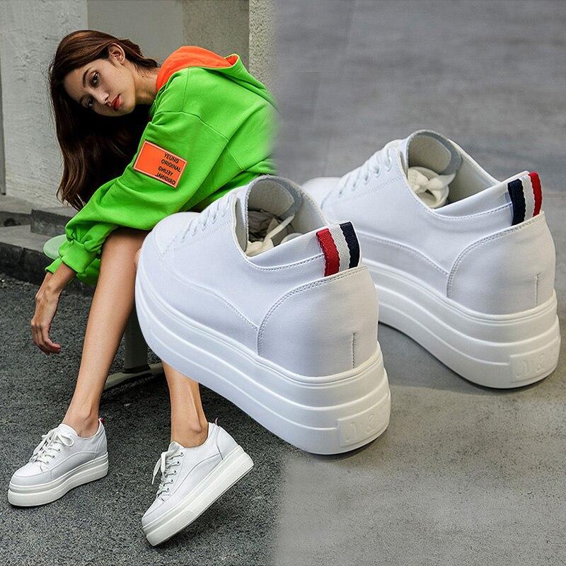Yiluan cuir véritable femmes blanc chaussures plate-forme baskets 2019 printemps automne mode femmes noir augmenter chaussures femme décontractées - 6