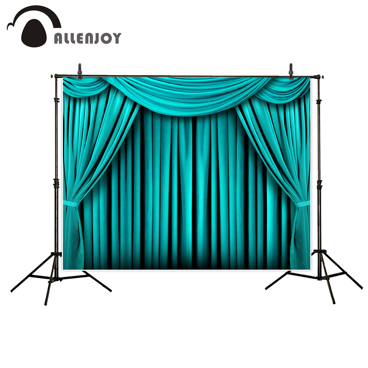 Allenjoy Vinyl chromakey photography wedding backdrops aquamarine stage curtain festival celebration photographic background 10 6 5feet 300 200cm photography backdrops red wedding candles chromakey free shipping