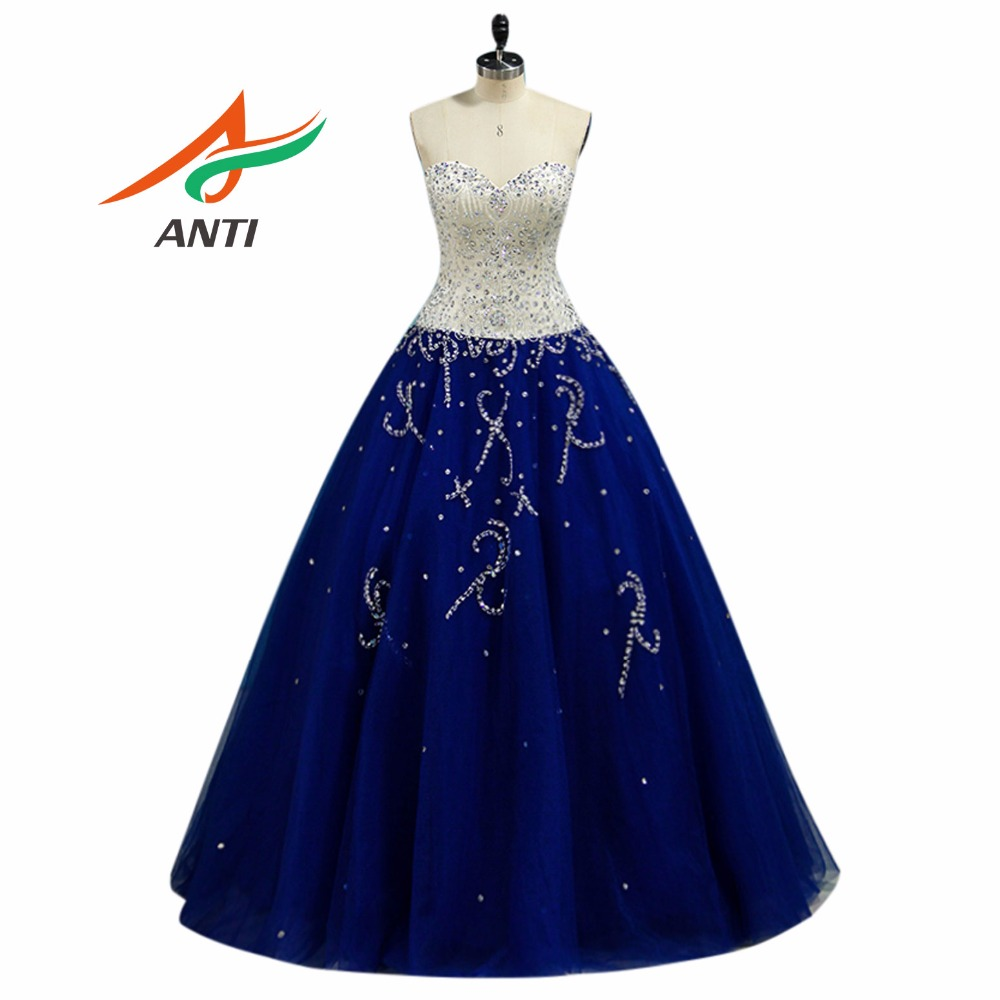 ANTI Noble Royal Blue Quinceanera Abito perline Sweetheart Crystal Shimmering Tulle Ball Gown per 15 anni Sweet 16 Princess