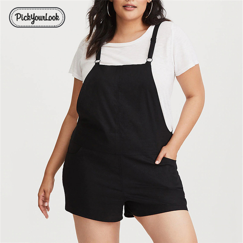Pickyourlook Plus Size Women Overalls   Jumpsuit   Romper Shorts Bib Pant Pocket Black Summer Lady Playsuit Sleeveless   Jumpsuit