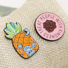 Cartoon Fruit Pineapple Female Brooches Rose Collar Pin Backpack Coat Badge for Women Kids Metal Alloy Jewelry Enamel Pins Gift