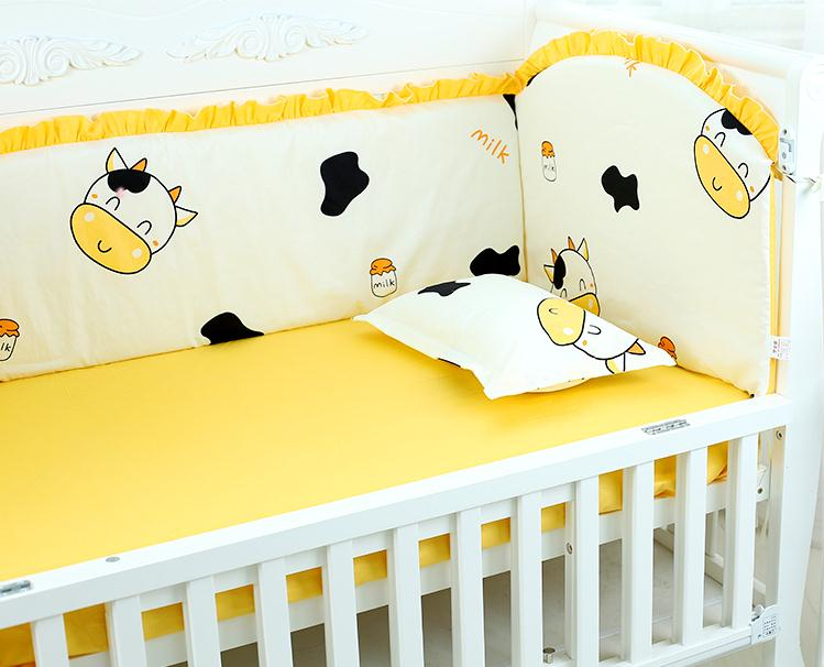 6pcs Cow Baby Kit Crib Cot Bedding Sets Cot Bumpers Crib Set Baby Linen Baby Crib Set Kit Berço (4bumpers+sheet+pillow Cover)