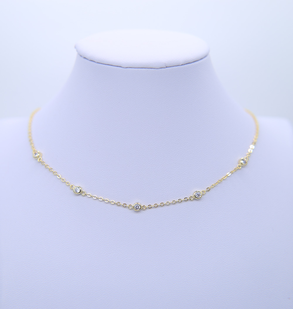 33+7cm cz charm Choker Necklace Gold color Pendants Necklace for Women chocker