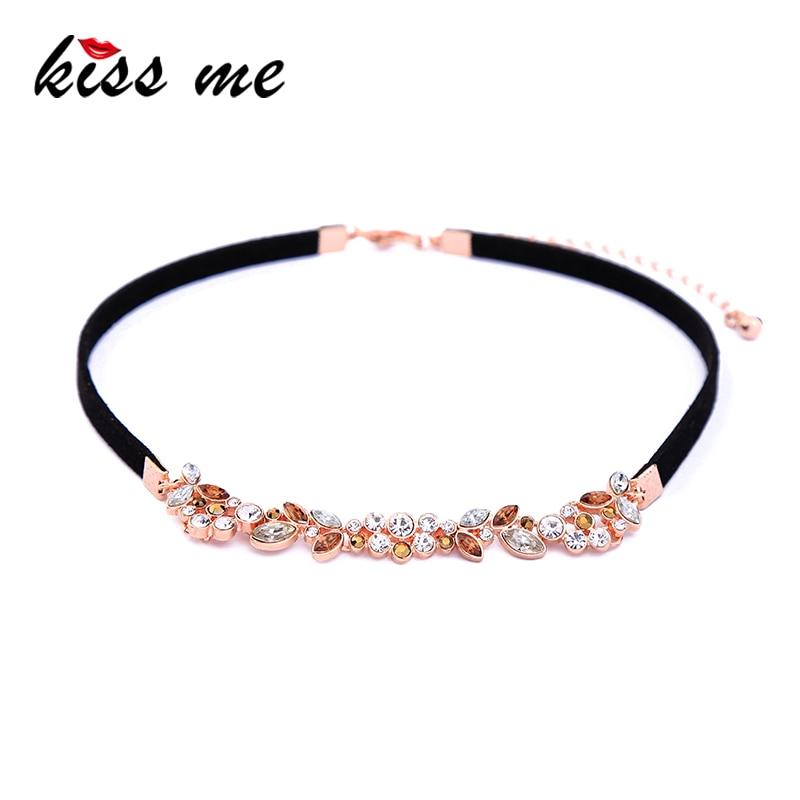 KISS ME Elegant & Noble Black Imitation Leather Crystal Leafs