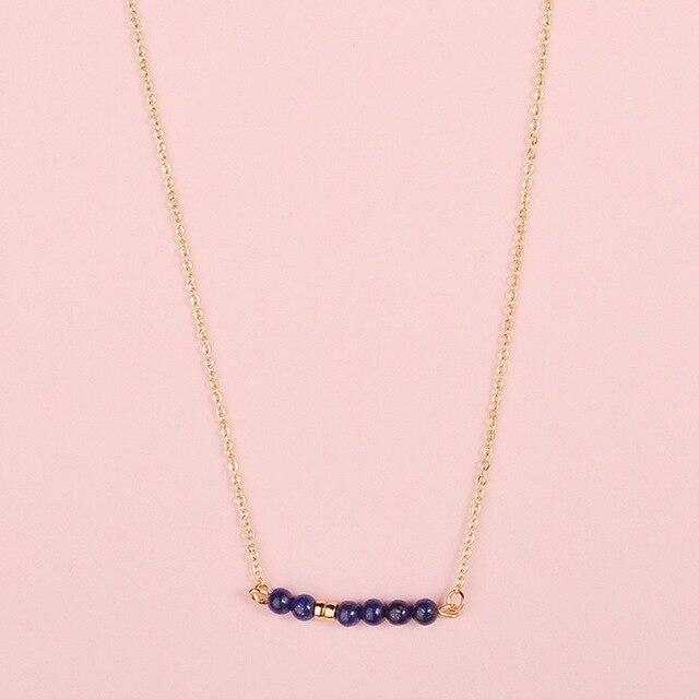 Fashion Jewelry Natural Stones Bar Pendant Choker Necklace Natural Stone Beads Bar Pendant Necklace 2