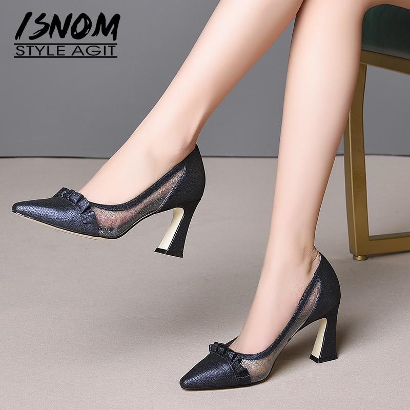 Isnom sheepskin pumps 여성 지적 발가락 신발 투명 얕은 신발 여성 pleated 하이힐 신발 여성 봄 2019 새로운-에서여성용 펌프부터 신발 의  그룹 1