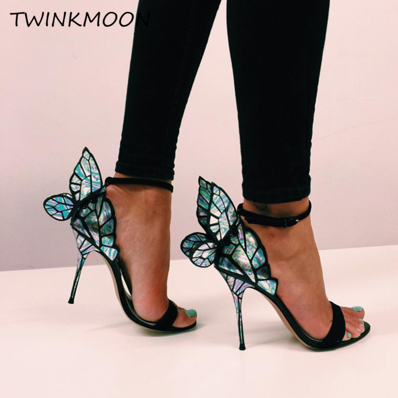 Butterfly Wing Designer Women Sandals Mirrow Metallic Embroidered Ankle Strap High Heels Shoes Glitter Woman Gladiator