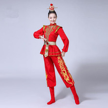 2b31347cd Red Chinese Style Adult Women Drum Clothing Plus Size 3XL 4XL Beijing Opera  Performance Clothes Ancient